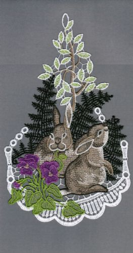 Embroidered Lace Rabbits Exploring Woodland Window Picture